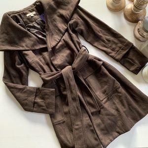 Chocolate Faux Wool Wrap-Tie Style Winter Pea Coat